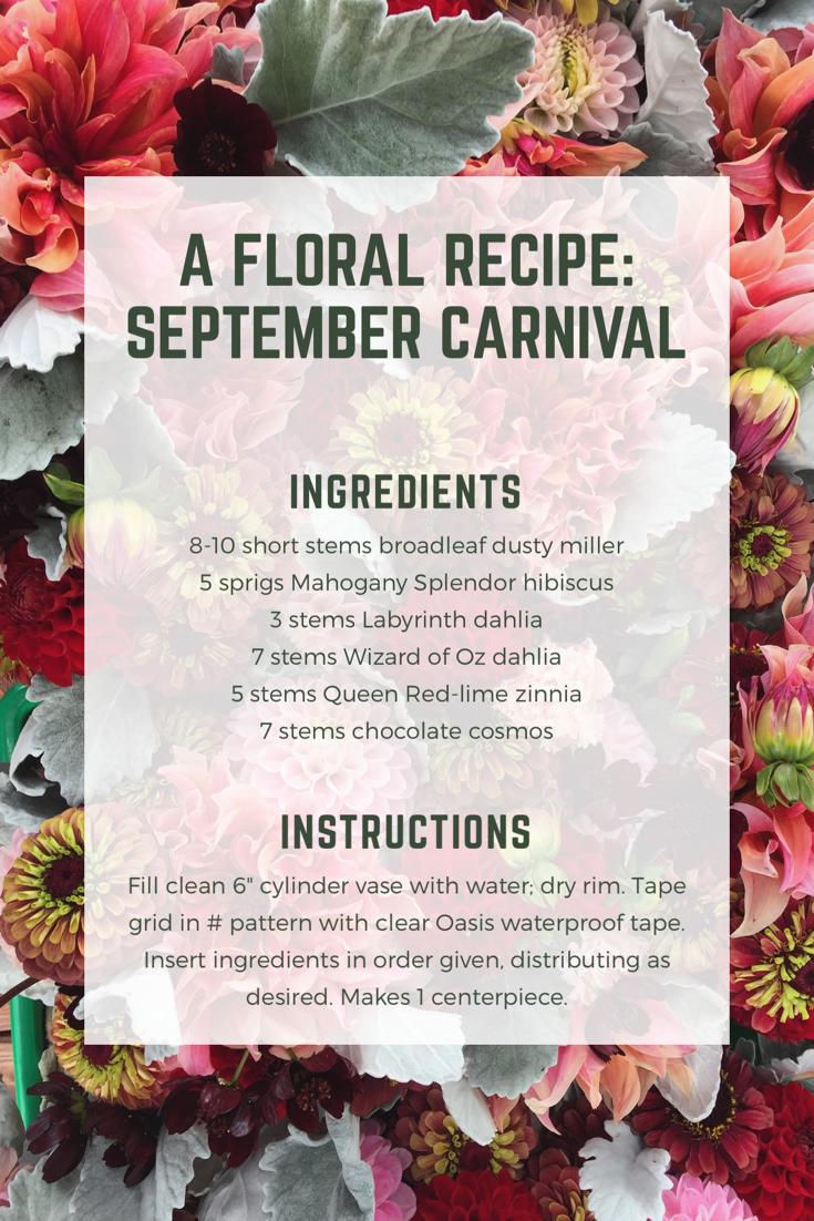 Flower recipe: September Carnival | Triple Wren Farms